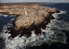 Aerial view of one of Nova Scotia's most iconic lighthouses - Peggy's Cove. Lush Canada, O Canada, Canada Travel, Places To See, Places Ive Been, Canada National Parks, Nova Scotia, Aerial View, East Coast