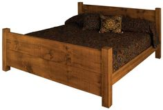 King size rustic bed made from rough sawn timber in a country style