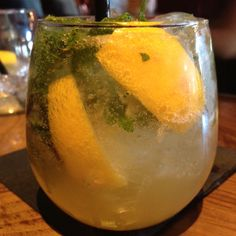 Whiskey Smash- Bulleit Bourbon, mint, lemon, and soda.