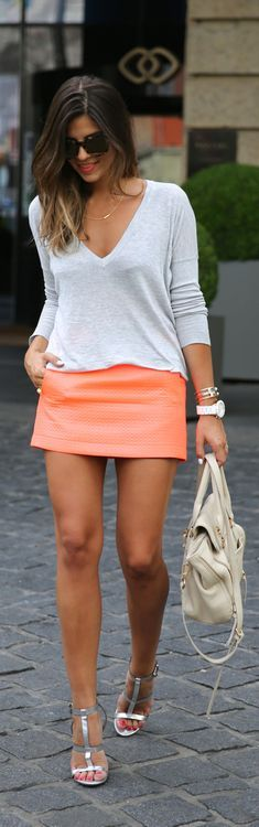Classic V-Neck Top with Orange Sexy skirt but with a more appropriate choice in footwear.