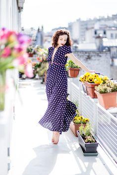 Robe longue à fleurs - Maxi dress - style 70's - Robe sur mesure - Made in Paris