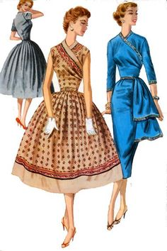 Vintage 50s Mccalls 3472 EXTRAVAGANT SURPLICE Bodice WIGGLE or FULL Skirt Coctail Dress with Side DRAPE Sewing Pattern  Size 14 Bust 32 UNCUT ...Pinned by WhatnotGems