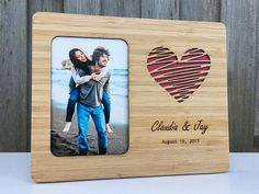 Love Heart Wedding Picture Frame Gift Customized Message photos frame Personalized Wedding Anniversary Gift, Photo Frame Laser Cut & Engraved on Bamboo Wood, Engagement, Anniversary Gift Wedding Picture Frames, Wood Picture Frames, Wedding Pictures, Cute Anniversary Gifts, Anniversary Pictures, Anniversary Surprise, Personalized Anniversary Gifts, Laser Cut Wood, Laser Cutting