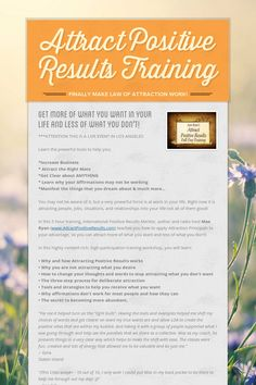 Attract Positive Results Training