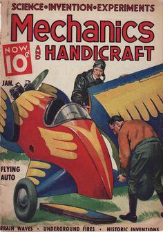 Vintage Magazine Cover: Flying Auto from Mechanics & Handicraft Magazine, January, 1937. $10.00, via Etsy.
