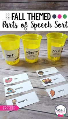 Fall Parts of Speech Sort Free fall parts of speech sort to practice nouns, verbs and adjectives with a fun fall/autumn theme!<br> Free fall parts of speech sort to practice nouns, verbs and adjectives with a fun fall/autumn theme! Parts Of Speech Activities, Adjectives Activities, Nouns And Adjectives, Learning Activities, Teaching Ideas, Brush Script, Kindergarten Writing, Literacy, Classroom Freebies