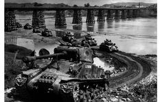 Sherman tanks of B Squadron, Lord Strathcona's Horse grind a path up the bank of the Imjin River in 1952, during th e Korean War. Almost 27,000 Canadians served in the Korean War, which ended  July 27, 1953.