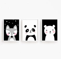 Sale Off = Printable Nursery Art Set of 3 : Fox Panda Bear ( Cute Poster Art Baby Girls Animals Stitch Disney, Lilo Et Stitch, Poster Art, Cute Poster, Art Lessons For Kids, Art For Kids, Nursery Prints, Nursery Art, Fox Nursery