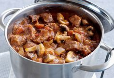 Beef & Onion Casserole - a hearty winter meal. Its delicious left in the slow cooker for the day as the steak becomes more tender. Slow Cooked Meals, Slow Cooker Recipes, Beef Recipes, Cooking Recipes, Slow Cooking, Easy Recipes, Onion Casserole, Casserole Recipes, Mushroom Casserole