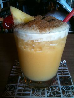 A Painkiller From The Soggy Dollar Bar In Jost Van Dyke, BVI. Pussers Dark  Rum, Cream Of Coconut, Pineapple And Orange Juice With Grated Nutmeg On Top.  The ...
