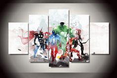 5 Panel Abstract Marvel Avengers Superhero Framed Wall Canvas | Octo Treasure