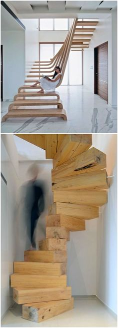 Amazingly creative and modern staircase design Interior Architecture, Interior And Exterior, Modern Stairs, Contemporary Stairs, Loft Stairs, Staircase Design, Interior Design Living Room, Kitchen Interior, Room Kitchen