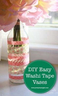 Need a gift that requires very little time to create? Check out these washi tape vases that are the perfect gift - and best of all, they cost next to nothing! Diy Washi Tape Crafts, Washi Tape Uses, Washi Tape Cards, Diy Crafts, Crafts For Seniors, Crafts For Teens, Senior Crafts, Teen Crafts, Decorative Tape