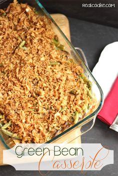 A delicious whole food recipe for Green Bean Casserole from #RealCoake #Recipe #greenbeancasserole