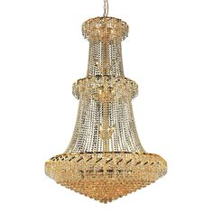 "Elegant Lighting ECA1G42G/EC Belenus Collection Foyer/Hallway Large Hanging Fixture D42"" x H66"" Gold Finish (Elegant Cut Crystals)"