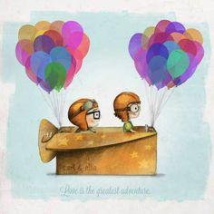 Great wedding gift for the Disney lover UP Pixar — Love is the greatest adventure Art Print by Ciara Panacchia Disney Up, Disney Amor, Arte Disney, Disney Magic, Disney Movies, Up Pixar, Up Carl Y Ellie, Up Theme, Illustrations