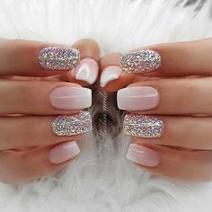 43 Pretty Nail Art Designs for Short Acrylic Nails Elegant French Ombre and Glitter Nails - Nail Designs Glam Nails, Beauty Nails, Glitter Nails, My Nails, Hair And Nails, Beauty Makeup, Eye Makeup, Nail Polish Designs, Acrylic Nail Designs
