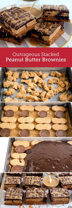 This decadent dessert is loaded with peanut butter cookie dough, peanut butter sandwich cookies, Reese's peanut butter cups and topped with a dark chocolate brownie layer for a seriously indulgent treat! You can use all peanut butter creme-filled sandwich cookies or all peanut butter cups in this recipe; whichever route you go, it will be delicious!