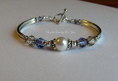Wedding Bracelet - Tanzanite and Silver Shade Swarovski Crystal Bridesmaid Bangle Bracelet