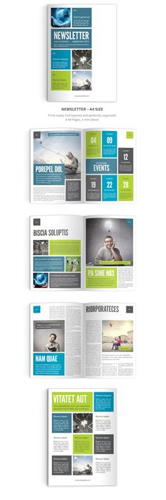 Newsletter InDesign Template. 6 pages. Easy to use. Print ready.