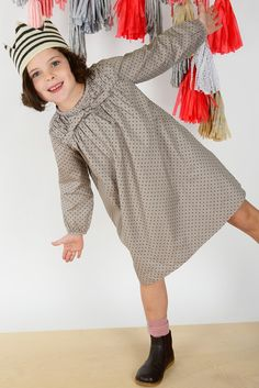 Becca Dress in taupe anouk dot | Olive Juice #holidaydress