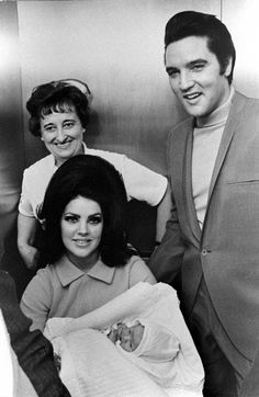 Elvis and Priscilla Presley with Lisa Marie at Baptist Hospital