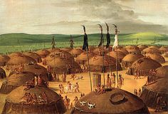A Mandan village is a settlement in North Dakota, painted by George Catlin around They had logs that surrounded the village as protection from the outside people. Native American Paintings, Native American Tribes, Mandan Indians, Plains Indians, Indian Tribes, American Indian Art, Western Art, First Nations, Tribal Art