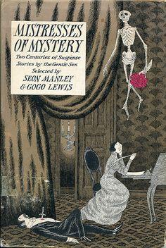"""illustration US : Edward Gorey, """"Mistresses of mystery"""", 1973, squelette, couverture de livre"""