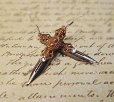 Pen nib earrings Art Deco pen nib earrings by BulletsBeadsBaubles