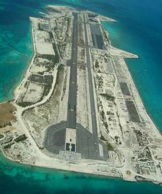Abandoned airstrip on a remote atoll.