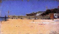 """Isidre Nonell Monturiol (1873 - 1911). """"Arenys de mar, 1891"""". Oleo sobre lienzo. 27 x 47 cm. Colección Solanic-Martonell. Barcelona. España."""