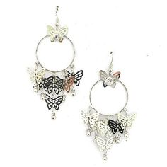 Metallic Mermaid - Hoop and butterfly earrings – Jc & Crew Butterfly Earrings, Silver Earrings, Hoop, Mermaid, Metallic, Personalized Items, Crystals, Clothes For Women, Accessories