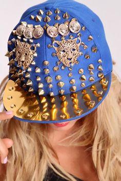 Royal Blue Gold Charms Decor Hat $53.99