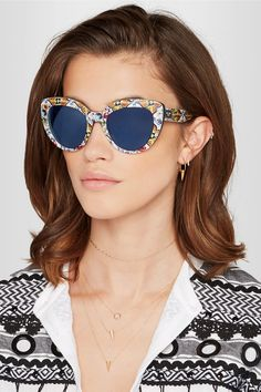 6facbf5b52 ... Dolce Gabbana - Cat-eye Printed Acetate Sunglasses - Blue - one size  los angeles ...