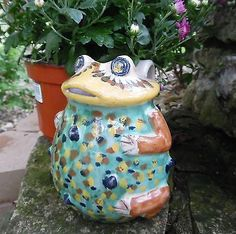 FANTASTIC VTG ITALIAN ART POTTERY COLORFUL MAJOLICA FROG PITCHER SIGNED ITALY