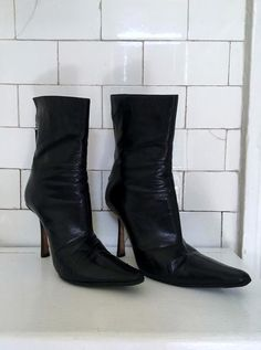 554a7b47a Items similar to Killer Vintage 90's Jimmy Choo Black Soft Leather Zipper  Back Pointy Toe Spike Heel Boots Size 38 or 7 on Etsy. Black Leather HeelsSoft  ...