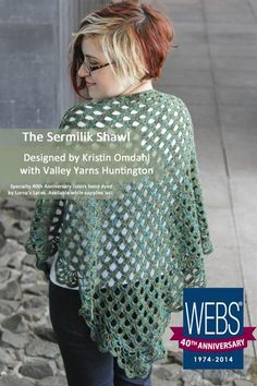 The Sermilik Shawl designed by Kristin Omdahl with Valley Yarns Huntington hand dyed by Lorna's Laces. Available exclusively at yarn.com