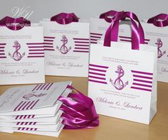 35 Nautical Wedding Welcome bags with Lilac Orсhid satin