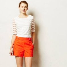 """Anthropologie Scalloped Sailor Shorts Bright orangey red scalloped sailor shorts from Anthropologie. Higher waist with side zip. Waist measures 16"""" laying flat, 4"""" inseam. Pre loved but still in good condition. No rips or stains. Brand is Cartonnier. Anthropologie Shorts"""
