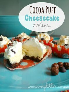 Cocoa Puff Cheesecake Minis: an easy and delicious dessert with Cocoa Puff cereal that kids will love to help make! Quick Easy Desserts, Creative Desserts, Quick Easy Meals, Delicious Desserts, Dessert Recipes, Fun Recipes, Recipe Ideas, No Bake Cheesecake Filling, Cheesecake Recipes