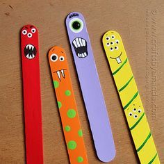 Make adorable craft stick monsters from jumbo craft sticks and paint! Perfect for back to school bookmarks or just a fun monster craft or Halloween craft! From Amanda Formaro of Crafts by Amanda