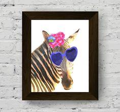 acquerello animale buffo zebra parete arte stampa animalier