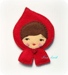 Red riding hood felt brooch