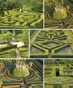 Photo collage of 5 famous hedge mazes