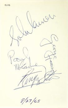 Beatles Autographs on Elvis Personal Stationery - August 27,1965