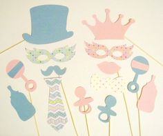 Gender Reveal Photo Booth Props 14 pc Baby Shower by PimpYourParty, $21.00