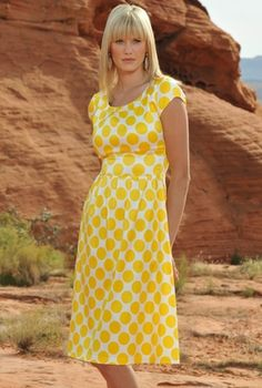 "I want it. So cute. And happy. ""Zoe"" Modest Dress in Yellow Dots"