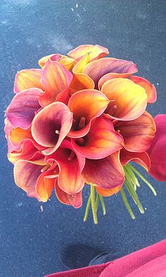 bridal bouquet- mango calla lillies
