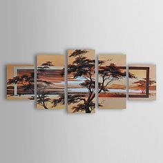 Hand-painted Landscape Oil Painting with Stretched Frame - Set of 5 - USD $ 143.99