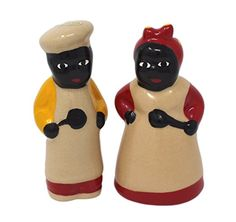 Reproducion Style Mamie And Chef Salt and Pepper Shaker Set (Multi)